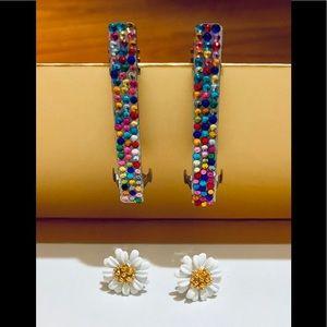 Jewelry - Daisy Earrings + Hair Barrettes!! / (OS) NEW!!